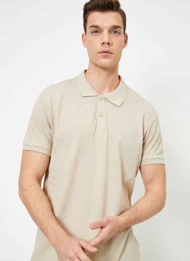 Koton Polo Yaka Kisa Kollu Slim Fit Basic T-Shirt Ekru